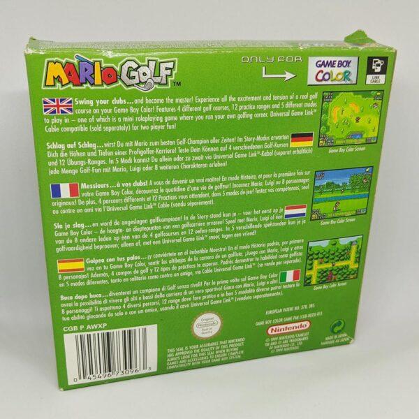 Mario Golf - Game Boy Color Box Back