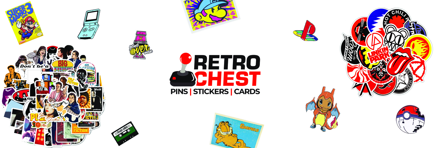 Retro Chest Subscription Box. Pins, Stickers and Cards
