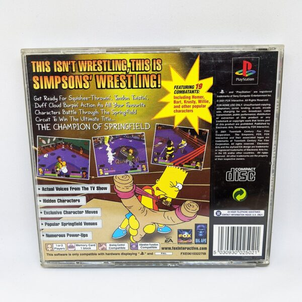 The Simpsons Wrestling PS1 Back
