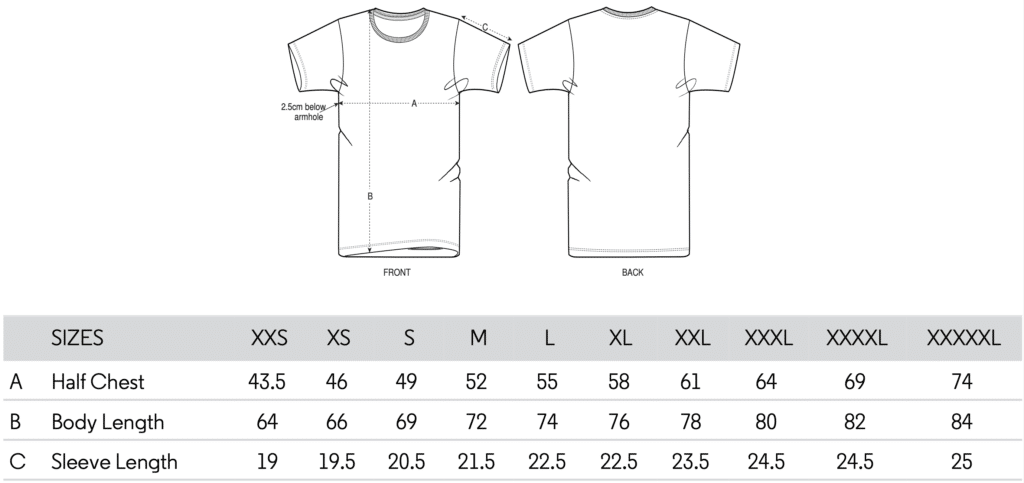 Retro Chest T-Shirt Size Guide