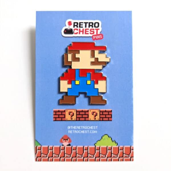 8 Bit Mario Pin Retro Chest Packaging